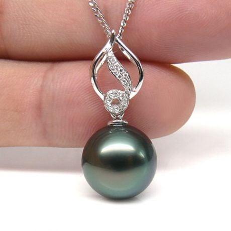 Pendentif feuille or blanc diamanté - Perle de Tahiti noire, bleue verte