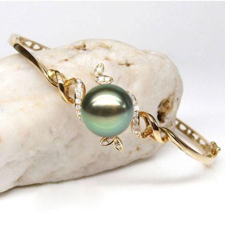 Braccialetto Giunco Genouilly - Oro Giallo, Perla di Tahiti Nera