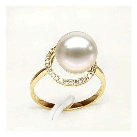 Bague perle d'eau douce blanche - Encerclement d'or jaune et diamants