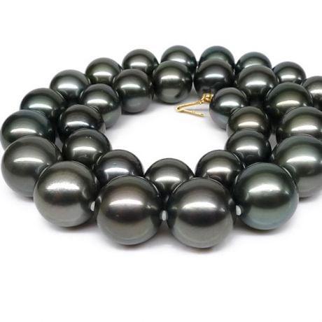 Collier perles Tahiti noires - Perle de culture Pacifique - 11/13mm