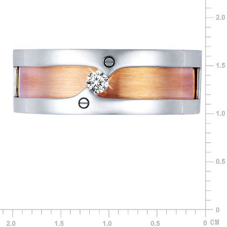 Bague ors Homme - Anneau 2 Or blanc et rose 18cts avec diamant serti