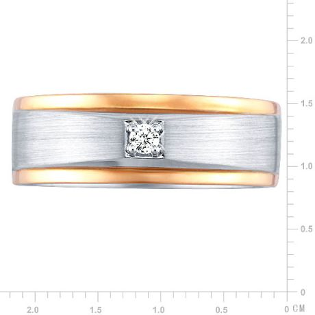 Bague Homme. Or blanc & rose 18cts, Diamants 0.045ct | Richard