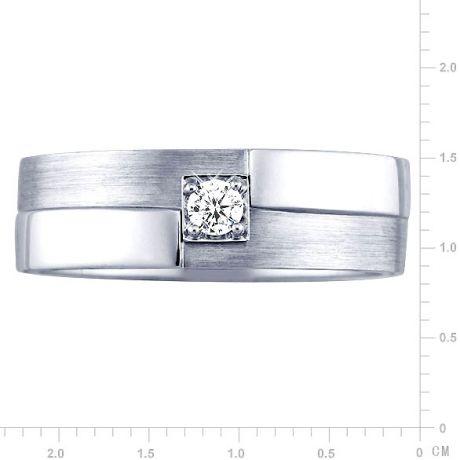 Anello Uomo - Oro bianco 6.90gr - Diamante 0.105ct