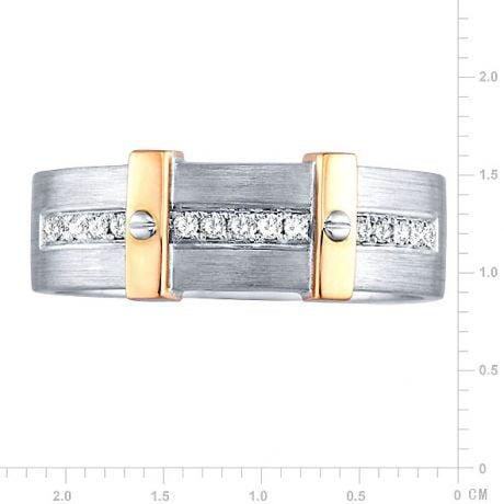 Anello Uomo - Oro bianco, giallo 7.80gr - Diamanti 0.150ct