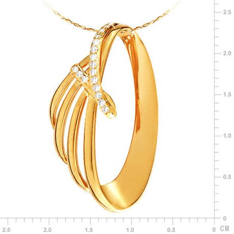 Pendentif or jaune océan du monde - À la forme écailleuse - Diamants