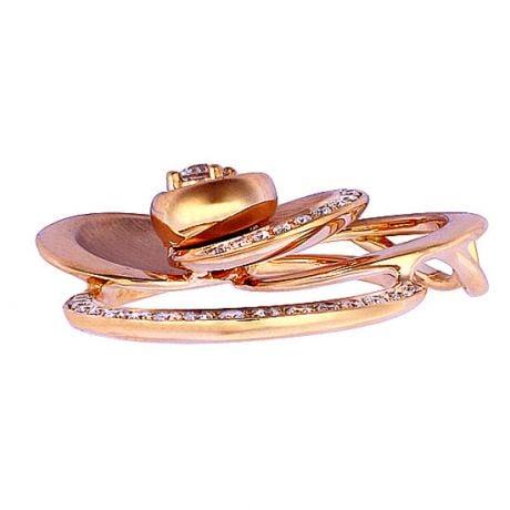 Ciondolo - Oro rosa 5.70gr - Diamanti 0,300ct