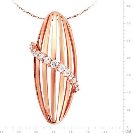 Pendentif courbes liées en or rose 18cts - Pavage diamants sensuel