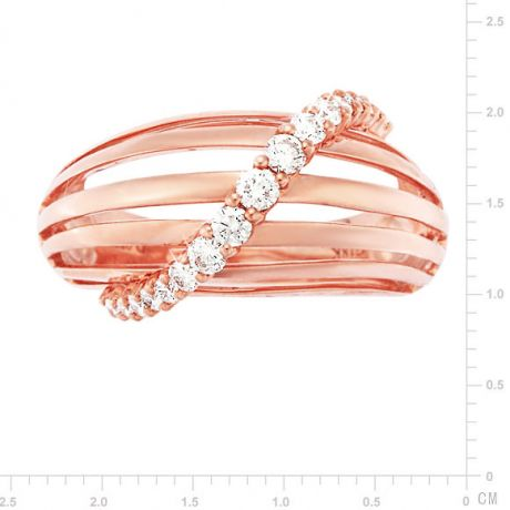 Bague contemporaine or - Barrettes or rose, diamant - Diamants 0.394ct