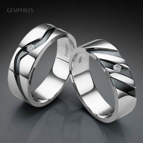 Bague stylisée homme or gris - Or blanc 18cts & Diamant | Marcus