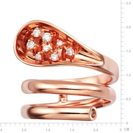 Anello Donna - Oro rosa 9.30gr - Diamanti 0.129ct
