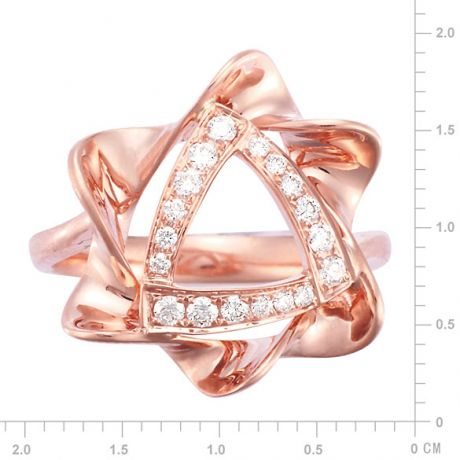 Bague étoile - Or rose - Pavage diamants 0.21ct