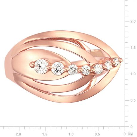 Bague fiançaille - Bague en or rose 18 carats - Diamants 0.204ct