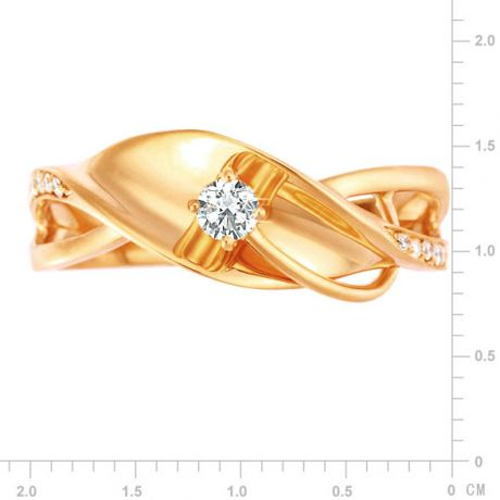 Bague fiançaille en or jaune 750/1000 - Diamants 0.15ct