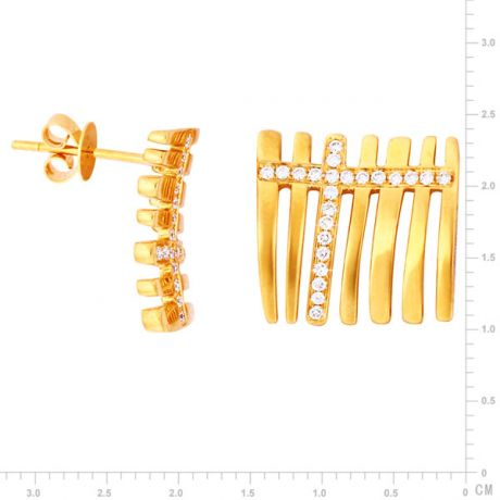 Paire de pendants d'oreilles en or jaune 18 carats - Diamants 0.23ct