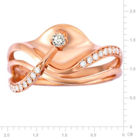 Bague or diamant - Or rose 18 carats - Diamants 0.154ct