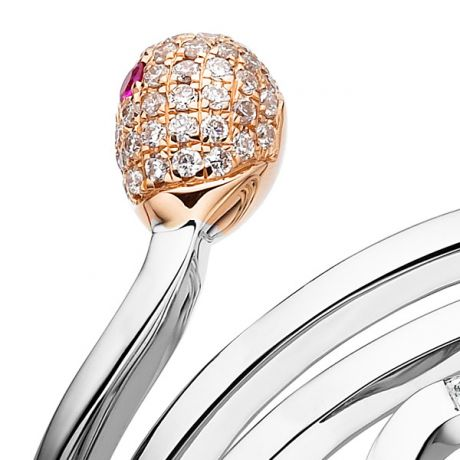 Bague 2 ors - Allumette or blanc et rose - Diamants 0.11ct