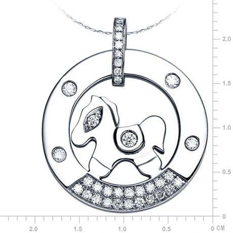 Ciondolo - Oro bianco 3.40gr - Diamanti 0.290ct