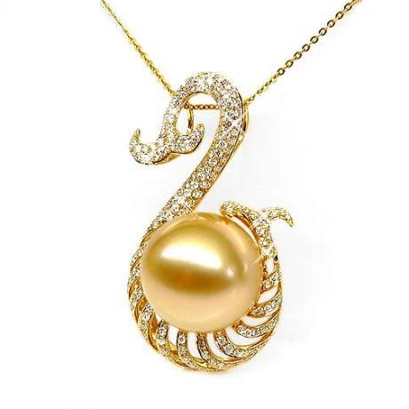 Ciondolo oro giallo, diamanti - Perla d'Australia dorata - 13/14mm