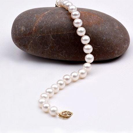 Bracelet avec perle blanche - Perles culture eau douce Chine - 6.5/7mm