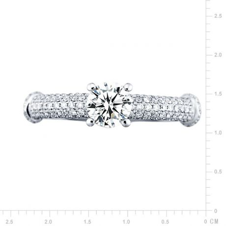 Solitaire Bambou Prestige - Bague en Or Blanc & Diamants 0.97ct | Gemperles