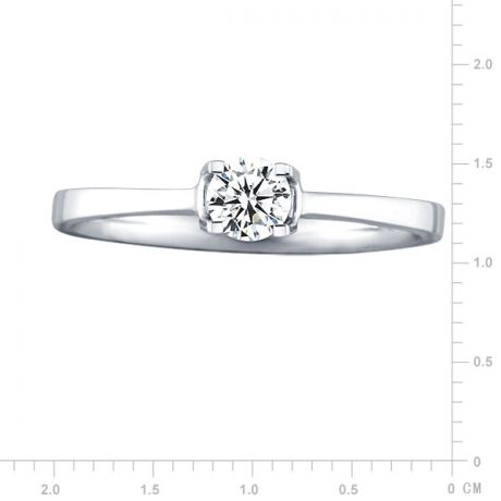 Anello solitario - Oro bianco 2.05gr - Diamante 0.193ct