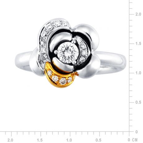 Anello Donna - Due ori 6.90gr - Diamanti 0.29ct
