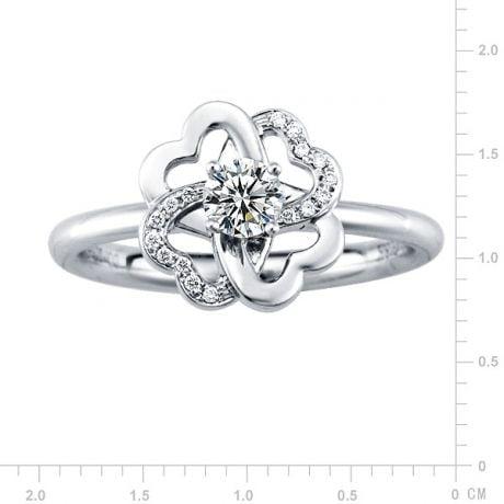 Anello Solitario Composto Fiore di Stendhal - Oro Bianco & Diamanti | Gemperles