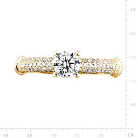 Solitaire Bambou Prestige - Bague en Or Jaune & Diamants 0.97ct | Gemperles
