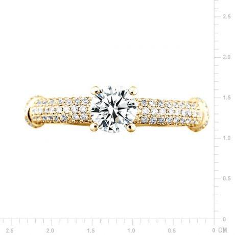 Anello di Fidanzamento Donna Bambù Prestigio - Oro Giallo & Diamanti VS/G | Gemperles