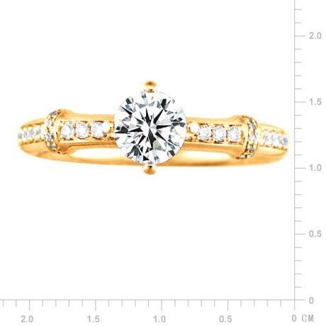 Anello Bambù Solitario - Oro Giallo 18kt & Diamante | Gemperles