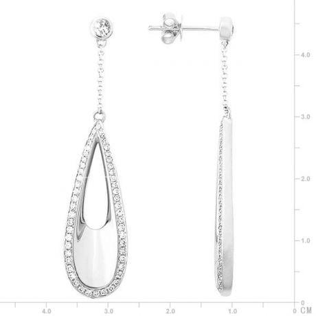 Orecchini Vulcano - Pendenti da Donna in Oro Bianco e Diamanti