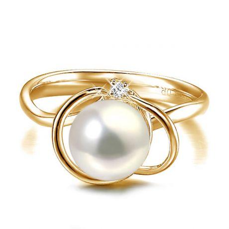 Anello Résurrection - Oro Giallo 18kt, Diamante e Perla d'Acqua Dolce
