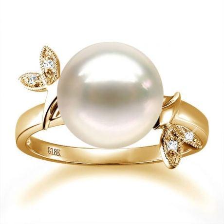 Anello Feuilles Étincelantes - Oro Giallo 18kt, Diamanti e Perla d'Acqua Dolce