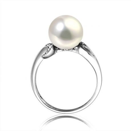 Bague note de musique - Perle de culture blanche, or blanc diamants