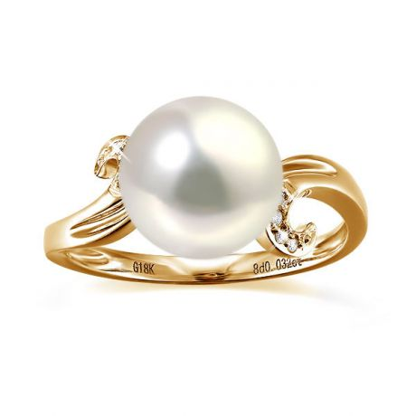 Bague note de musique - Perle de culture blanche, or jaune diamants