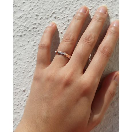 Fede nuziale Bambù per donna. Platino & Diamanti | Gemperles