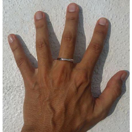 Fede Nuziale Keaton per Uomo - Oro Giallo e Diamanti