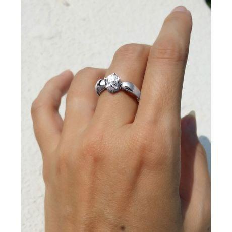 Anello di Fidanzamento Cuore Jefferson - Oro Bianco con Diamanti | Gemperles