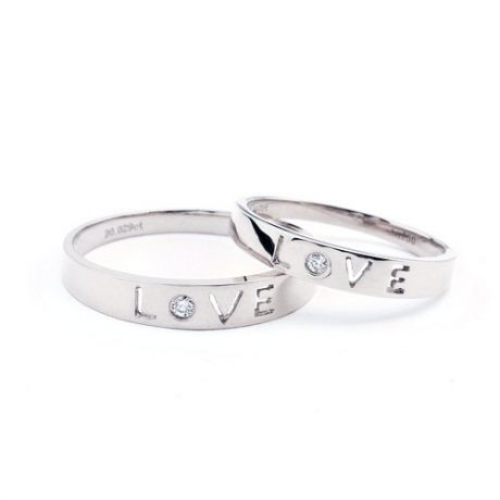 Alliances Love - Alliances Duo d'or blanc - Diamants