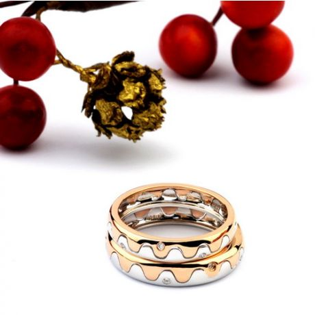 Alliances 2 ors - Alliances Homme, Femme - Or blanc, rose - Diamants