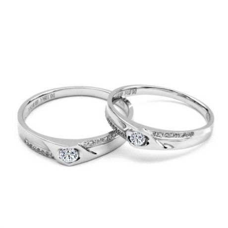 Alliances Duo solitaires diamants - Alliances modernes Or blanc 18cts