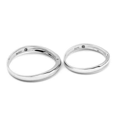Alliance bijou mariage - Alliance Femme - Or blanc 18cts - Diamant