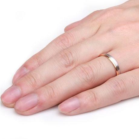 Fede Nuziale Gary per Uomo - Fascia Oro Bianco e Rosa 18kt