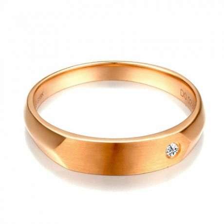 Alliance homme taillée en oblique - Or rose 750/1000, Diamant | Gabriel