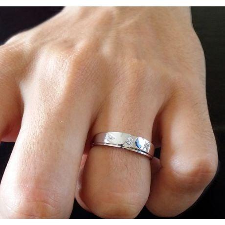Alliance diamants - Or blanc - Alliance Homme