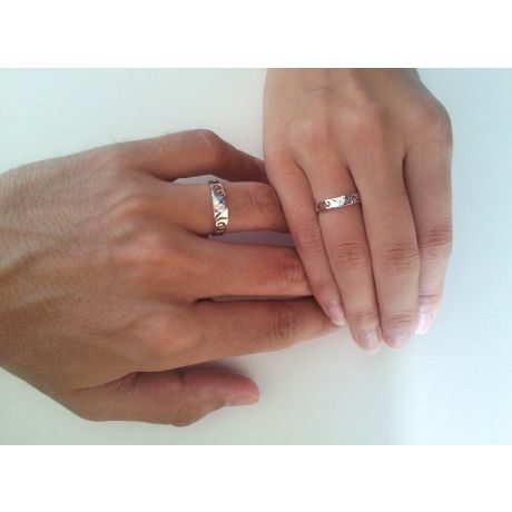 Fede Nuziale da Uomo Crépuscule - Oro Bianco e Diamanti