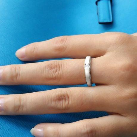 Achat alliance mariage - Alliance Solitaire Femme - Or blanc, diamants | Garland