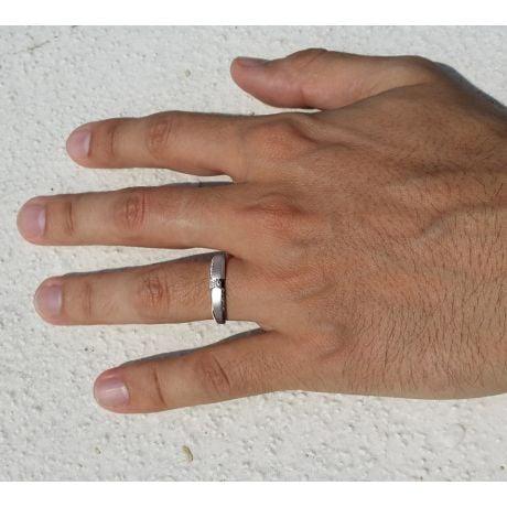 Achat alliance mariage - Alliance Solitaire Homme - Or blanc, diamants | Léon