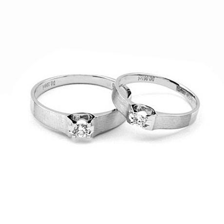 Coppia di Fedi Nuziali Gwenneth & Robin - Oro Bianco e Diamante