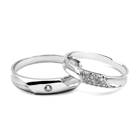 Coppia di Fedi Nuziali Chloé & Lucas - Fedine Oro Bianco & Diamanti